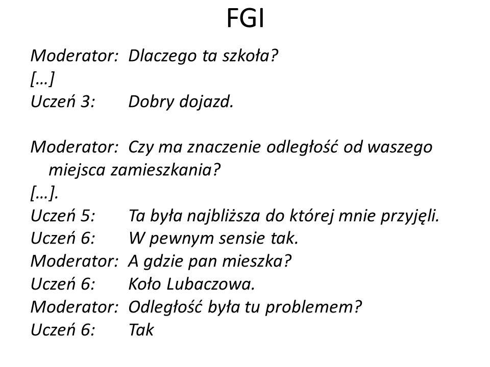 FGI Moderator: Dlaczego ta szkoła […] Uczeń 3: Dobry dojazd.